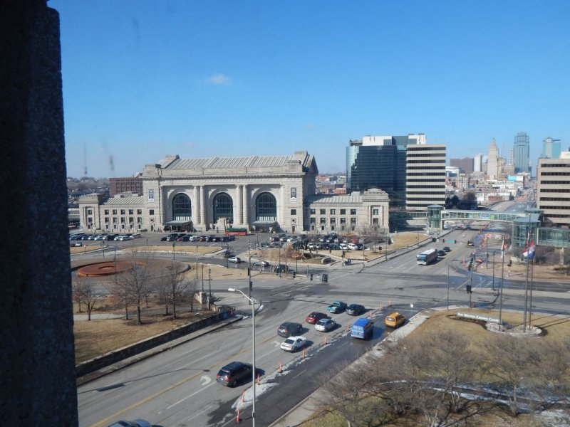 The view outside from the KC Cafe Radio showcase room: Union Station and downtown Kansas City