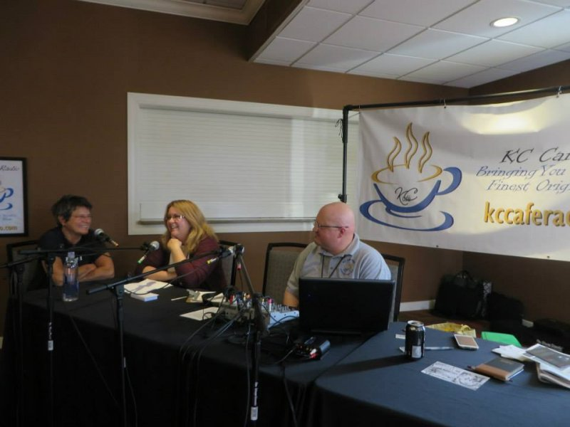 KC Cafe Radio\'s Booth at the 2014 Folk Alliance Region Midwest conference
